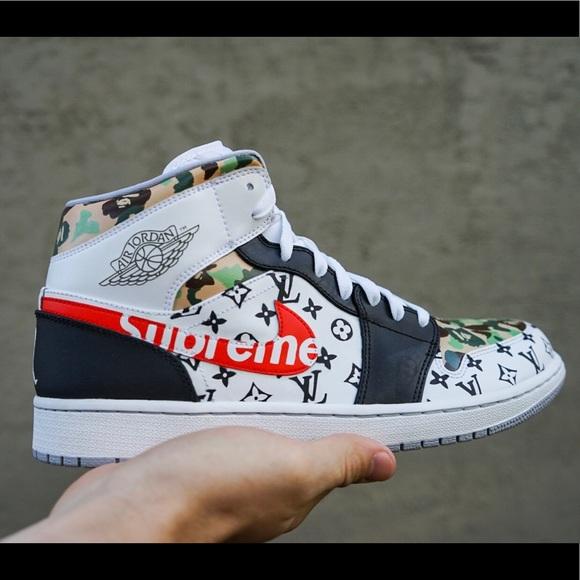 "huge discount e26e6 adbd1 Jordan 1 s custom ""hypebeast"" Supreme x Bape x LV"